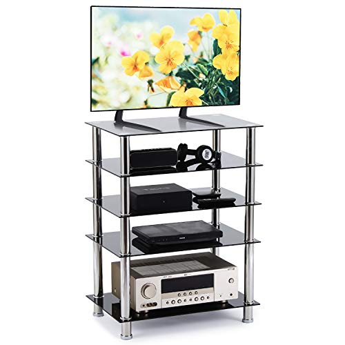 Rfiver AV Component Media Stand Stereo Cabinet, Modern Audio-Video Tower with 5-Tier Black Tempered Glass Entertainment Shelves Storage, Easy Assembly and Sturdy Rack