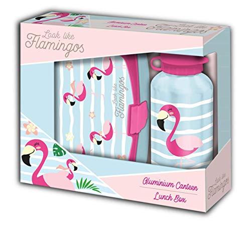 Kids Licensing- Set sandwichera plastico y cantimplora Aluminio de Flamingo Regalo Botella 500 ML, Multicolor, 40 cm (KL10034)