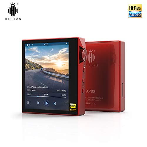HIDIZS AP80 Bluetooth Reproductor de MP3, Reproductor de Audio Digital Portátil de Alta Resolución con LDAC/aptX/DSD, Reproductor de Música HI-FI con Pantalla Táctil Completa (Rojo)