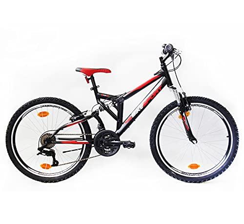 """Bikesport Parallax 24"""" Bicicletta Biammortizzata Doppia Sospensione (Nero Neon Green)"""