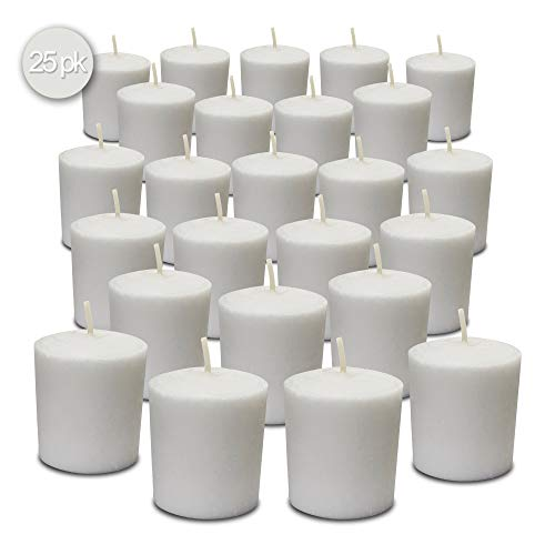 Hyoola White Votive Candles - 25 Pack - Unscented, Extra Long 24 Hour Burn Time - for Party Decorations, Birthday, Wedding and Dinner Centerpieces