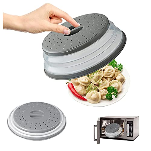 Cubierta Plegable Microondas Tapa Plegable Para Microondas Tapa Para Microondas Plegable Tapa Microondas Plegable Bap Libre Y No Tóxico Colador Plegable Para Vegetales Y Frutas(gris)