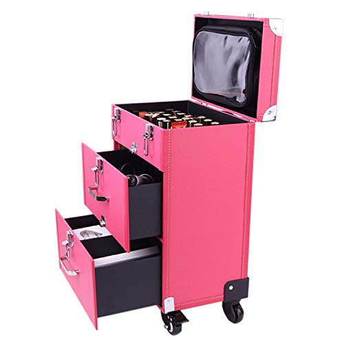 Extra Lager Luxury Leather Hairdressing Make up Beauty Trolley Case...