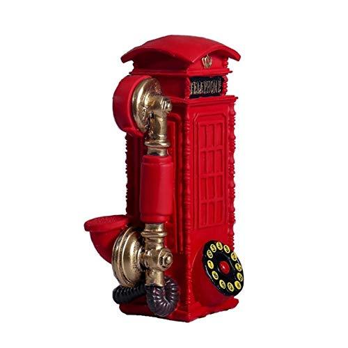 ELKeyko Arte Escultura Cabina de teléfono de época Moderna Figura de Resina estatuilla Ornamento de la decoración del hogar Accesorios de Escritorio de la decoración (Color : Red)