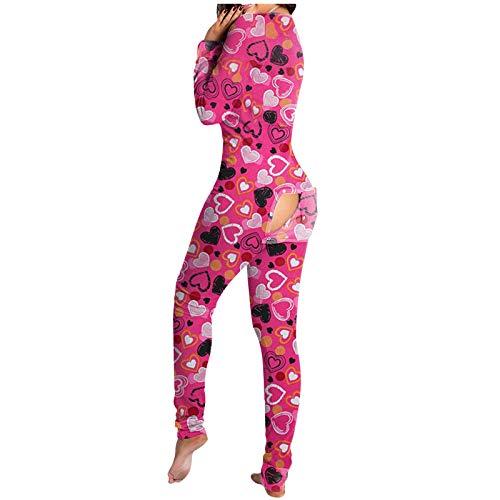 Vectry Damen Jumpsuit Herzdruck Onesies Pyjamas Sexy Deep V-Neck Langarm Overall Funktioneller Bodysuit mit Knopfleiste Skinny Strampler Spielanzug(A-Rot,M)