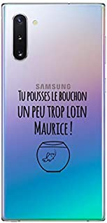 """ZOKKO Case for Samsung Note 10 with""""Tu pousses le Bouch"""" (""""You Pushes the Cork"""") Design - Transparent - Black Ink"""