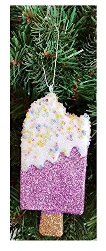 Purple Glitter and Beaded Design Ice Pop Christmas Ornament - Trendy Stylish Kawaii Cool Unique