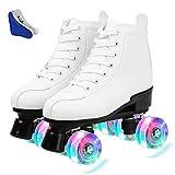 Redson - Patines de ruedas para mujer, piel sintética, cuatro ruedas, patines de alta calidad, para niñas, unisex, con bolsa (rueda blanca de destello, 39 EE.UU.: 7.5)