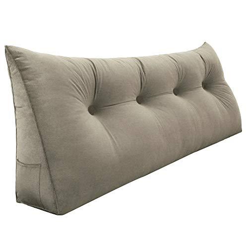 VERCART cojín de lectura almohada confortable bodega cuello triangular cama sofá desenfundable terciopelo 60Cm Beige, velur, beige, 120 cm