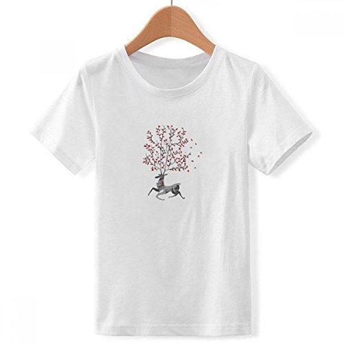 DIYthinker Reno de la Navidad Efecto artístico Cuello Redondo Pintado a Mano Camiseta para Chico Multicolor Grande
