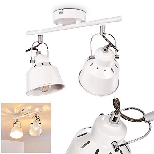 Deckenleuchte Safari, Deckenlampe aus Metall in Weiß, 2-flammig, mit verstellbaren Strahlern u. Lichteffekt, 2 x E14-Fassung max. 40 Watt, Spot im Retro/Vintage Design, für LED Leuchtmittel geeignet