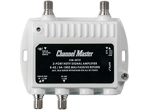 Channel Master Ultra Mini 2 TV Antenna Amplifier, TV Antenna Signal Booster with 2 Outputs for Connecting Antenna or Cable TV to Multiple Televisions (CM-3412),Silver