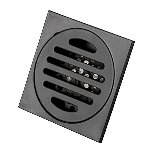 GERUIKE Scarico a Pavimento per Vasca da Bagno Coperchio di Scarico Quadrato Rimovibile per Bagno con Doccia Filtro per WC in Acciaio Inossidabile Inossidabile 9,7X9,7 CM Nero…