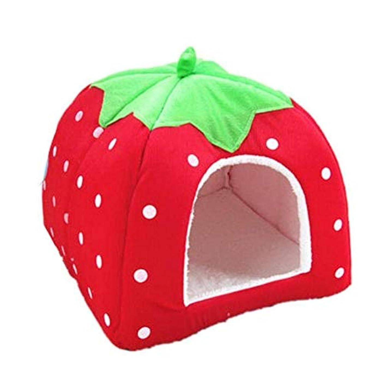 慣れる分布けがをするAJSHGD ソフトストロベリーペット犬猫ハウスケンネル折り畳み式後背位冬暖かいクッションバスケット動物のテントベッド犬ペット (色 : 赤, サイズ : S)
