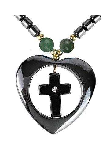 Collar de cadena corta de hematita con colgante de corazón y cruz, piedras preciosas, aventurina verde brillantes