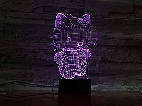 Luz nocturna, lámpara táctil para dormitorios, sala de estar, mesa portátil, lámparas de noche con batería interna, luz nocturna para niños, Hello Kitty Mini