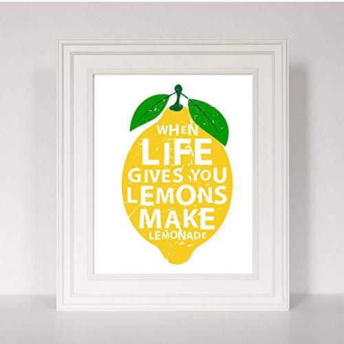 LLXHG Moderne keuken decor canvas schilderij Wenn Das Leben geeft u citroenen maken limonade citaten kunst poster wandschilderij voor woonkamer 21 x 30 cm geen lijst