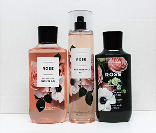 Bath and Body Works - Rose - Shower Gel, Body Lotion, Fine Fragrance Mist Daily Trio Summer 2018