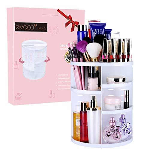 コスメボックス EMOCCI 化粧品収納 メイクケース 360度回転式 大容量 可調節 水洗い タワー型 (ホワイト)