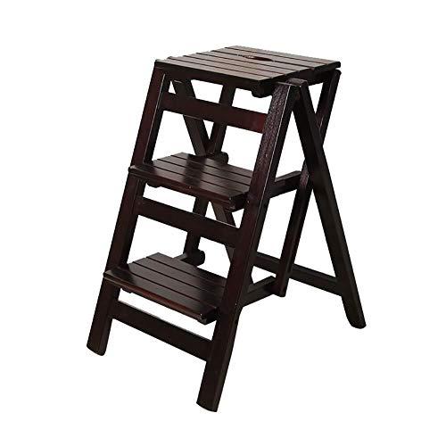 LILIS Wooden Step Stool 3-step Household Folding Step Stool Ladder, Soild Wood Library Ladder Chair