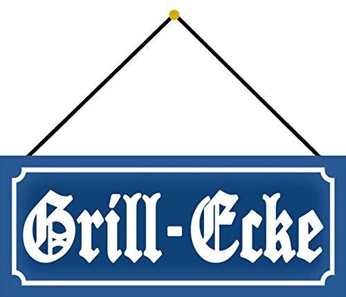 FS Nostalgie Grill - Ecke Grillen Essen Blechschild Schild gewölbt Metal Sign 10 x 27 cm mit Kordel
