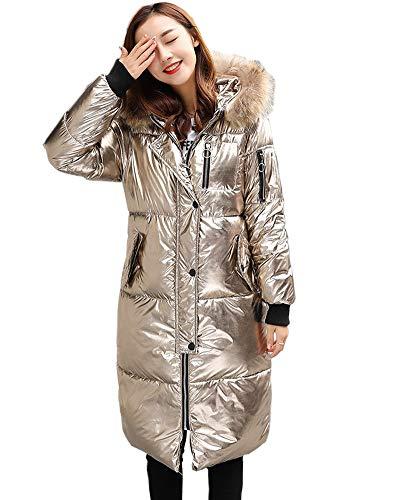 GZDMFS Womens Winter Hooded Warm Coats Parkas Down Jackets Zipper Long Overcoat (XX-Large, Champagne Gold)