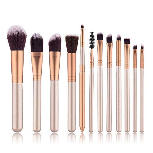 WETERS Pinceaux Maquillage, Pinceaux de Maquillage Beauté 12pcs, Mixeur de Beauté et Nettoyant pour Toutes Les Consistances,Gold