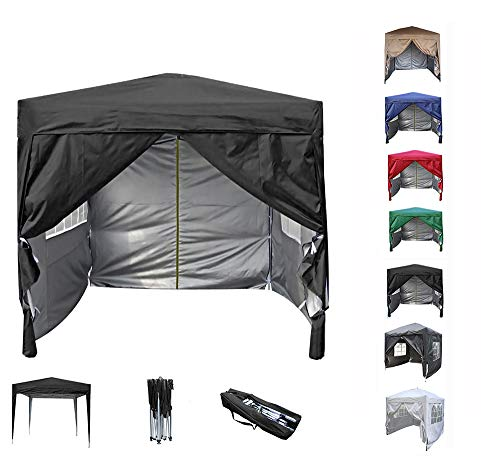 Mcc@home Premier 2x2m Waterproof Pop-up Gazebo with Silver Protective Layer Marquee Canopy (WS) (Black)