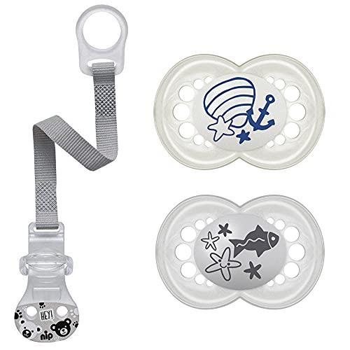 MAM Original ciuccio 6-16 mesi Ciuccio in silicone, 2 pezzi, Include scatole per il trasporto sterilizzate & NIP Clip per ciuccio