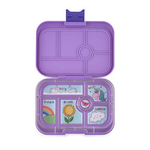 YUMBOX Original (mit 6 Fächern) - PERSONALISIERBAR - Brotbox/Lunchbox/Bento Box mit fester Fächer-Unterteilung - auslaufsichere Brotdose für Schule - ideal zur Einschulung (Dreamy Purple (ohne Namen))