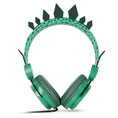Auriculares para niños con micrófono, lindos dinosaurios con cable de 3,5 mm Jack sobre la oreja, diadema suave y ajustable para clase en línea, video chat de voz