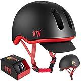 BTN Skateboard & Bike Helmet: Bicycle, BMX, Skate & Scooter Helmets w/Free Removable Visor, Protective Gear, Large, Black
