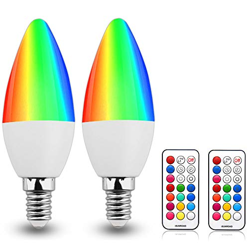 RGB E12 Light Bulb Candelabra LED Bulbs Dimmable 3W RGBW E12 Color Changing Bulb Candle Base E12 Colored Light Bulb RGB+Warm White C35 Candelabra Edison LED Bulbs with Remote Control for Mood Lighting