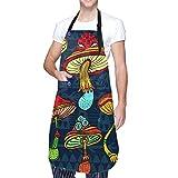 NOLOVVHA Ajustable Colgante de Cuello Personalizado Delantal Impermeable,Conjunto de setas de colores estilizados,Babero de Cocina Vestido para Hombres Mujeres con 2 Bolsillos Centrales