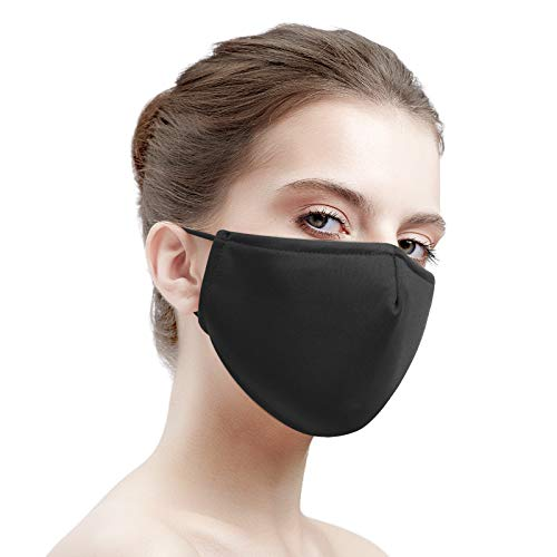 Black Face Masks Washable for Women Men Reusable Cloth Face Masks with Filters Breathable Face Masks with Nose Wire and Adjustable Ear Loops with Fashion Design 1 Pack