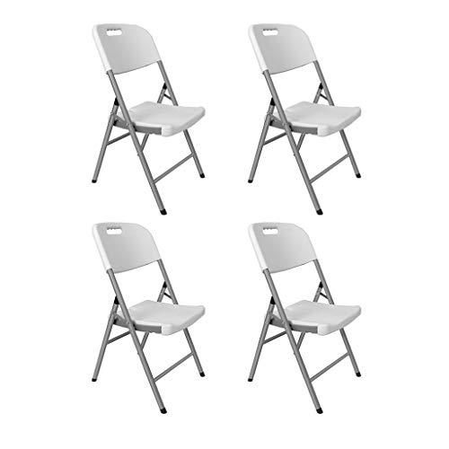 Klappstuhl Stabil, Klappstuhl Holz, Klappstuhl Leicht, Balkon Klappstuhl, Gartenstuhl Auflage Hochlehner, Klappstuhl Stabil (Color : White*4)