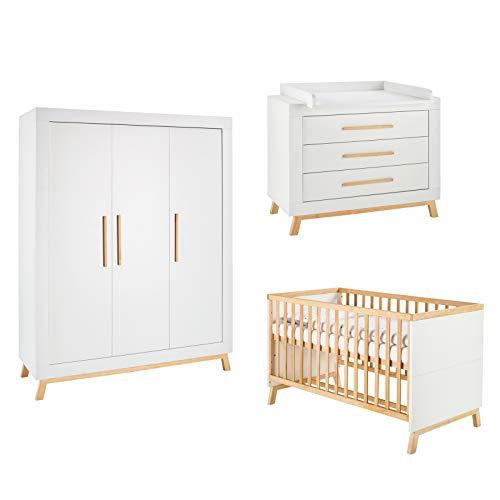 Schardt Kinderzimmer Set 4-teilig Miami White mit 3-türigen Kleiderschrank | 11 802 02 03