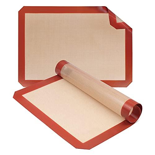 UPHOMLIFE Silicone Baking Mats, Non-Stick - Half Sheet Professional Food Safe Grade, Set of 2, 16.5' x 11.6'