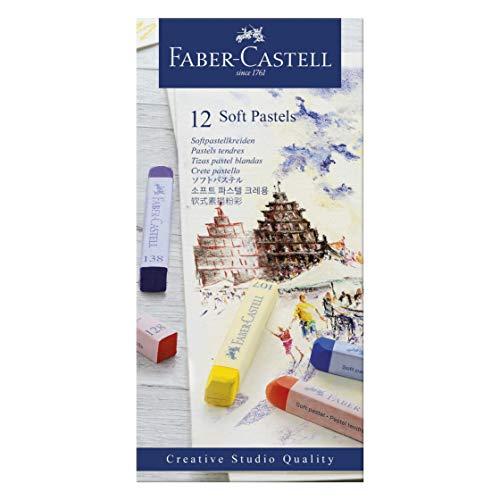 Faber-Castell 128312 Creative Studio Softpastellkreide, 12 Farben sortiert im Kartonetui
