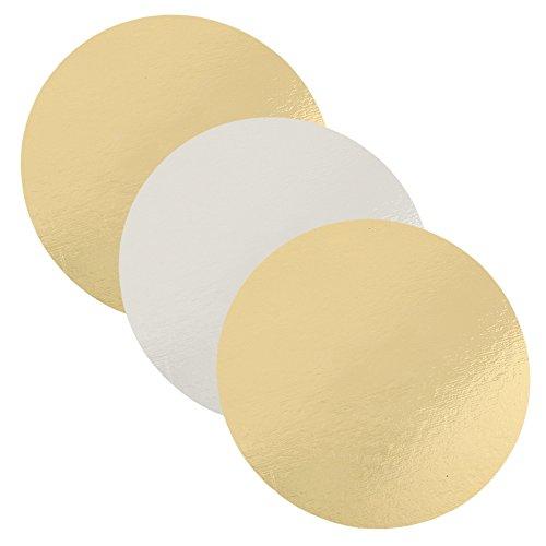 FunCakes - Lot de 3 sous-Mains Ronds - Argenté/doré - 20 cm - Épaisseur 1 mm