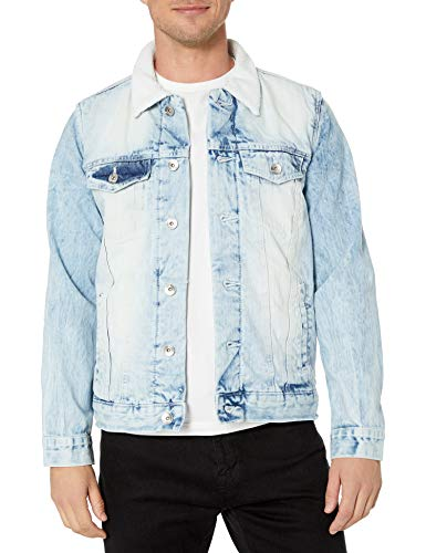 Southpole Men's Premium Fashion Denim Jacket, Light Sand Blue Sherpa, X-Large