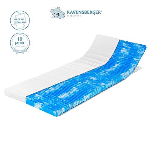 Ravensberger Matratzen® Gel-LUX 50 Topper | 9 cm Gesamthöhe |7 Zonen GELAX® Gelschaum-Auflage |H2/3 RG50 (50-110 kg) | 180 x 200 x 9 cm | mit Baumwoll-Doppeltuch-Bezug