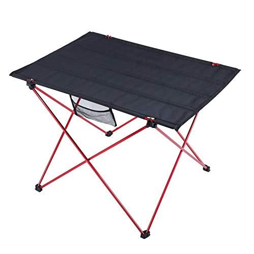 ZXCVBNM Mesa Auxiliar Cama Al Aire Libre Mesa Plegable De Aluminio Ligero Picnic Portátil para Acampar Barbacoa Puesto Mesa Silla (Color : Red)