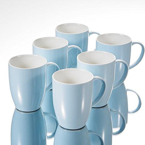 Panbado Kaffeepott aus Porzellan, 6-teilig Set 370 ml Großer Becher, Kaffeetassen, Trinkbecher, Himmelblau + Weiß