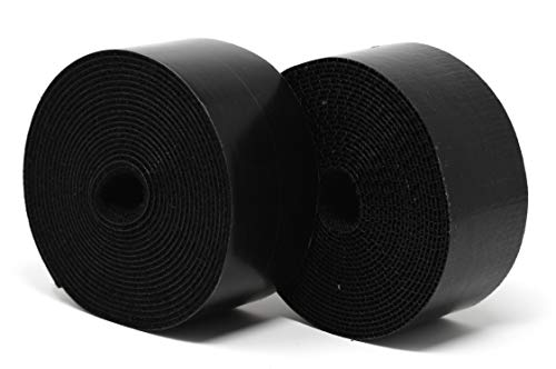 Strenco 2 inch adhesive black hook and loop tape - 5 yards - heavy duty strips - sticky back fastener 7 2 inch wide black hook and loop tape self adhesive (sticky back) straps/ strips by strenco its great for fastening. Hook and loop (complete double sided set) 5 yards (15 feet) long of each side. Sticks on glass, wood, plastics and other clean, flat surfaces.