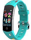 Orologio da polso per bambini, con contapassi, per il fitness, per bambini, per ragazzi, ragazze, adolescenti, cardiofrequenzimetro, calorie, sonno, impermeabile, per Android iOS, A-verde,