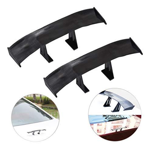 Creatiee 2Pcs Universal Car Mini Spoiler Wing, Auto Car Tail Wing Mini Auto Carbon Fiber Texture Decoration Without Perforation Tail Decoration, 6.7 Inch(Black)