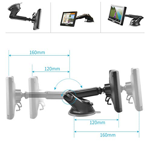 GPS Dash Mount, APPS2Car Dashboard Windshield Sticky Suction Mount w/One Hand Operated Semi-Auto Telescopic Arm Additional Replacement Upgrade Mount for Garmin Nuvi Dezl DriveSmart StreetPilot Zumo