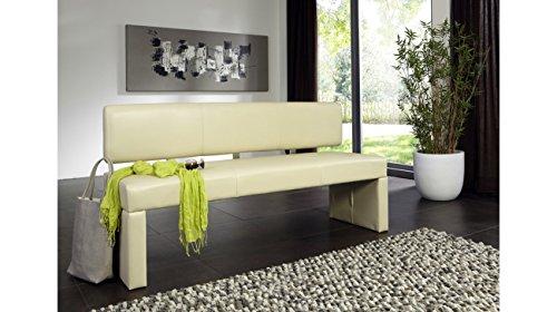 SAM® Esszimmer Sitzbank Sandra, 180 cm, in Creme, Sitzbank mit Rückenlehne aus Samolux®-Bezug, angenehmer Sitzkomfort, frei im Raum aufstellbare Bank