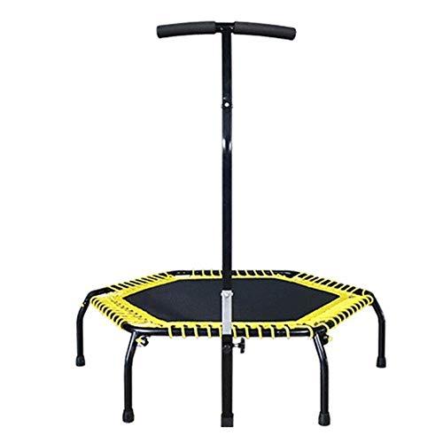XBCDX Trampoline voor binnen en buiten trampoline met ronde rand, inklapbaar met geel en zwart framekussen